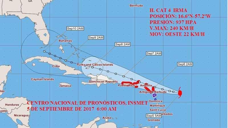Huracán Irma se acerca al grupo norte de las Antillas Menores