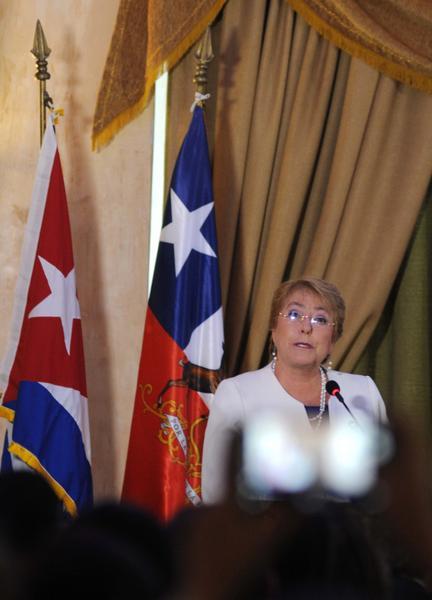 Michelle Bachelet, presidenta de Chile, interviene en la inauguración del Foro Empresarial Chile-Cuba, efectuado en el Hotel Nacional de Cuba, el 8 de enero de 2018. ACN FOTO/Omara GARCÍA MEDEROS