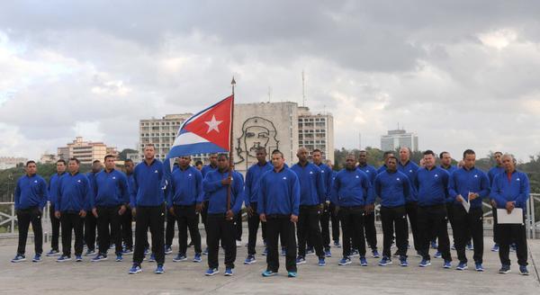 Ceremonia de abanderamiento al equipo de béisbol de la provincia Granma, que representará a Cuba en la Serie del Caribe, a desarrollarse en Guadalajara, México, efectuada en el Memorial José Martí, en La Habana, el 31 de enero de 2018. ACN FOTO/Omara GARCÍA MEDEROS