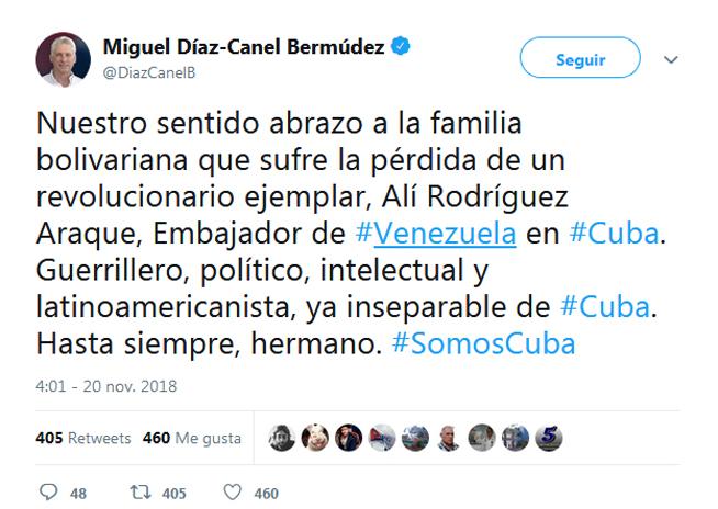 Presidente cubano lamentó fallecimiento de Alí Rodríguez