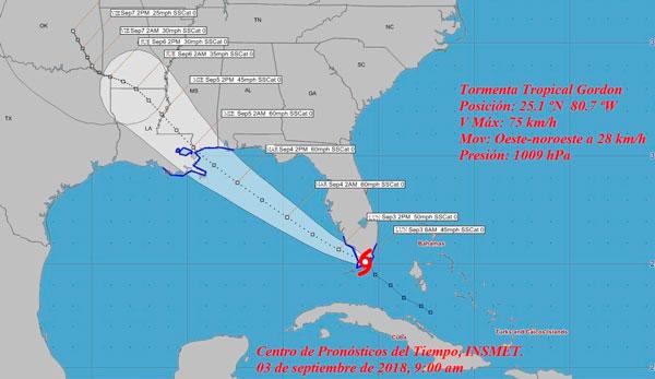 Se forma la tormenta tropical Gordon en el estrecho de la Florida