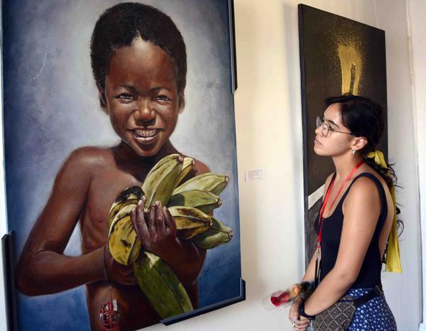 Inauguran el Salón de la Plástica Internacional del Caribe de la 38 Fiesta del Fuego, evento dedicado al hermano pueblo de Puerto Rico, en la Sala Prat Puig, de la Oficina del Conservador de la ciudad de Santiago de Cuba, el 5 de julio de 2018. ACN FOTO/Miguel RUBIERA JUSTIZ