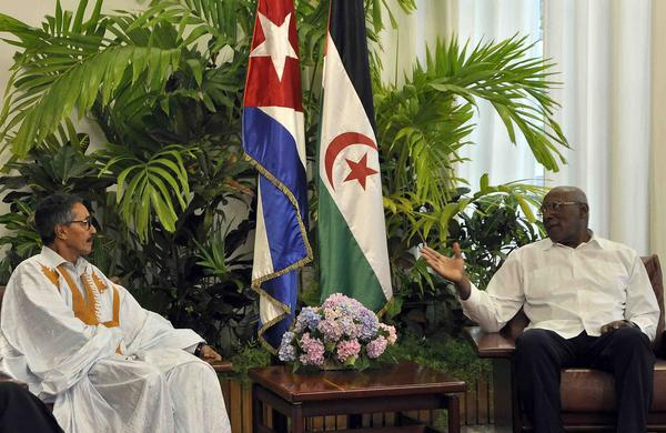 Cuba's First Vice President Salvador Valdes Mesa Meets with the leader of the Saharawi National Council