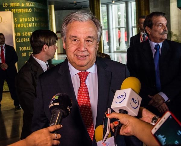 António Guterres, secretario general de la Organización de Naciones Unidas (ONU), ofrece declaraciones a la prensa, en el Memorial José Martí, en La Habana, Cuba, el 7 de mayo de 2018. ACN FOTO/Marcelino VÁZQUEZ HERNÁNDEZ
