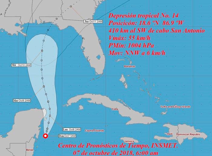 Aviso de alerta temprana No. 1 del Estado Mayor Nacional de la Defensa Civil sobre la depresión tropical No. 14