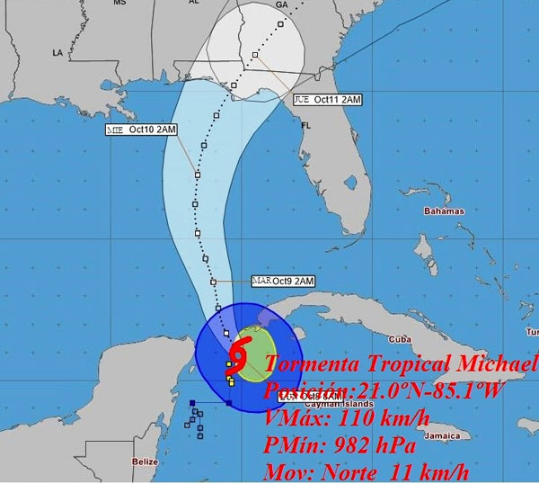 Michael becomes a hurricane very close to Cuba