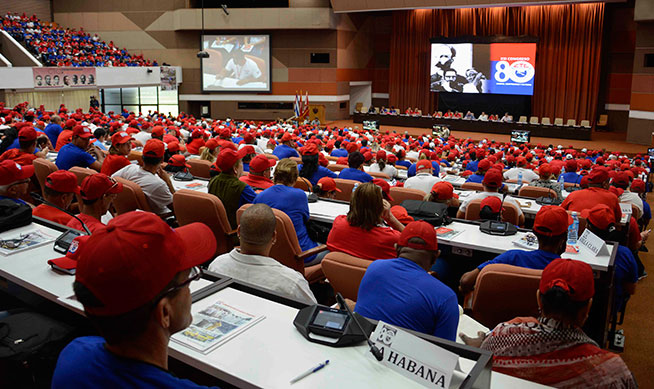Intervención de delegados, durante el XXI Congreso de la Central de Trabajadores de Cuba (CTC), que se desarrolla en el Palacio de Convenciones, en La Habana, el 24 de abril de 2019.