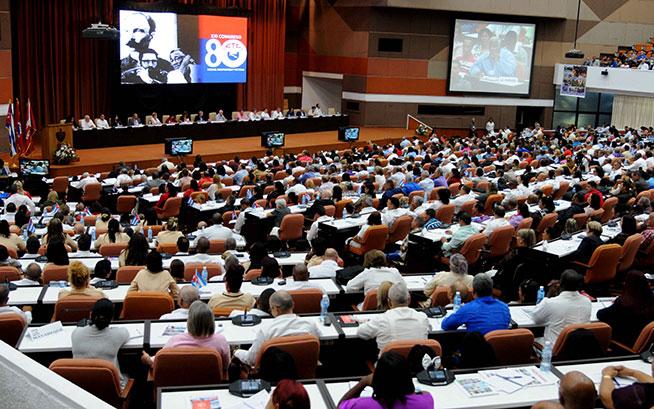 Intervención de delegados, durante el XXI Congreso de la Central de Trabajadores de Cuba (CTC), en el Palacio de Convenciones, en La Habana, el 24 de abril de 2019.