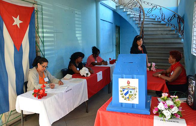 En la prueba dinámica se ponen en práctica, la organización y desempeño de las autoridades electorales, con vistas al próximo Referendo Constitucional, en Camagüey,  Cuba, 17 de febrero de 2019.