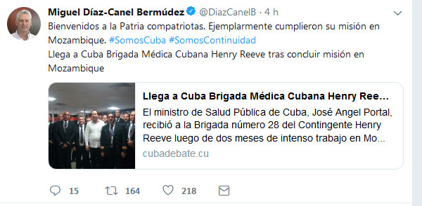 Díaz-Canel warmly welcomes on Twitter Cuban medical brigade