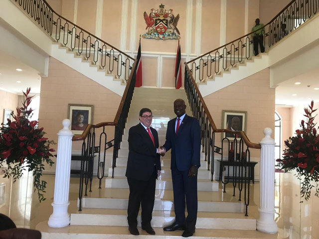 Prime Minister of Trinidad and Tobago received Cuban Foreign Minister