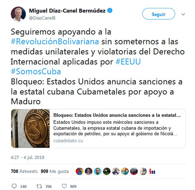 Reitera Díaz-Canel respaldo de Cuba a Venezuela