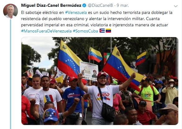 Diaz-Canel condemns the intensification of aggression against Venezuela