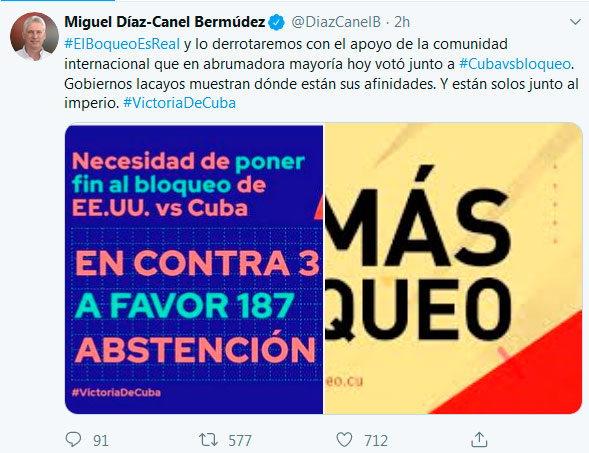 Diaz-Canel celebrates Cuban victory at UN