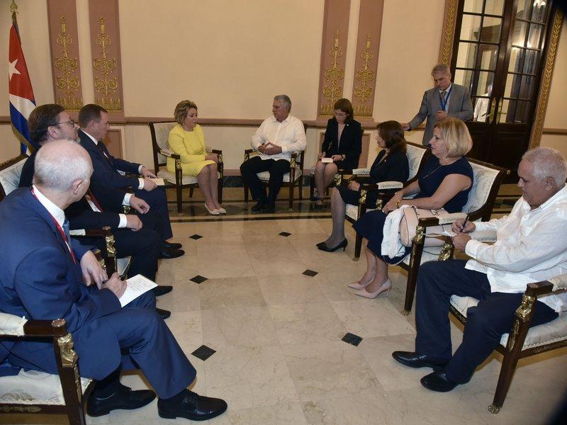 Díaz-Canel a reçu la Présidente du Conseil de la Fédération de Russie