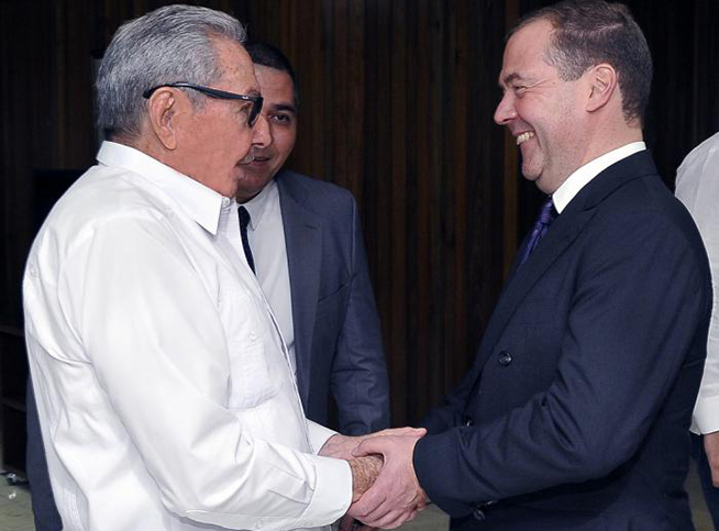 Raul Castro received Russian PM