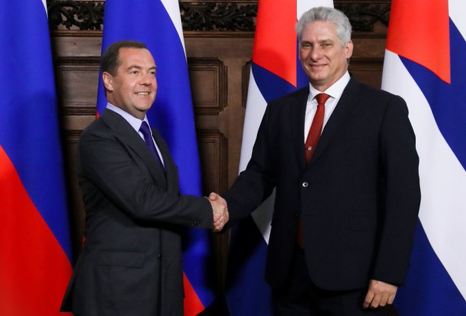 Cuban president and Russian PM Dimitri Medvedev hold talks in Moscow