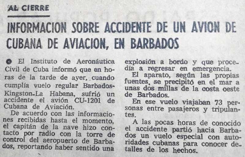 Nota en el periódico Granma que informa sobre el crimen de Barbados Foto de Archivo