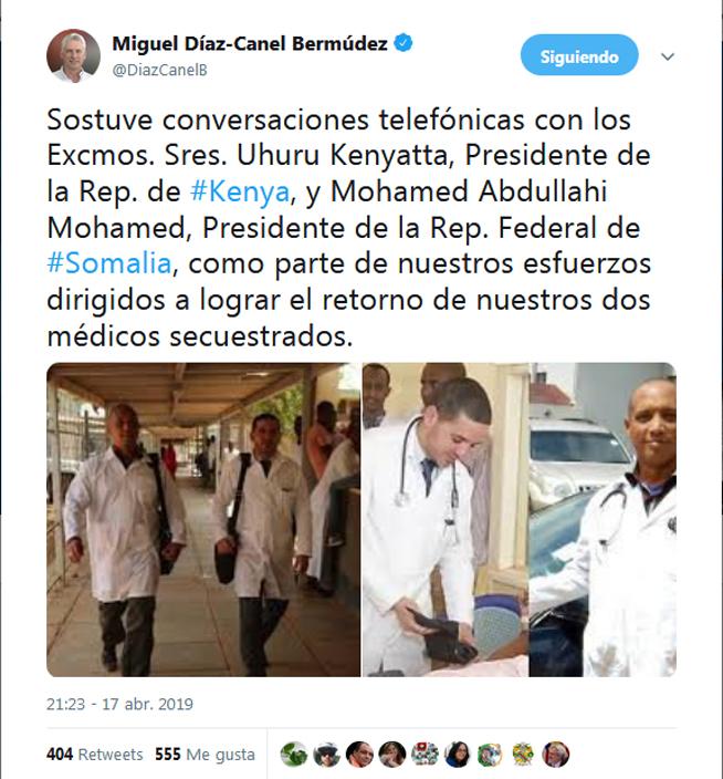 Sostiene presidente de Cuba conversaciones con sus homólogos de Kenya y Somalia