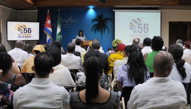 Acto de conmemoración del Día de África, en la sede del Ministerio de Relaciones Exteriores (MINREX), en La Habana, Cuba, el 24 de mayo de 2019.