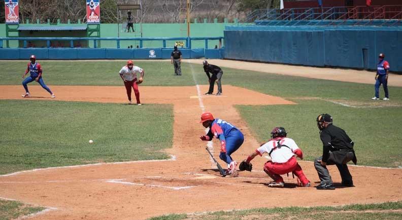 Matanzas logró su primer triunfo contra Granma en la gran final de la pelota, correspondiente a la Serie Nacional 60, que tiene por sede al estadio José Antonio Huelga, en la ciudad de Sancti Spíritus, Cuba, el 31 de marzo de 2021. ACN FOTO/Oscar ALFONSO SOSA