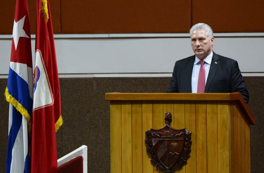 Miguel Díaz-Canel Bermúdez, Presidente de la República, como Primer Secretario del Comité Central del Partido Comunista de Cuba (CC PCC), interviene en la Sesión de Clausura del VIII Congreso del PCC, en el Palacio de Convenciones, en La Habana, el 19 de abril de 2021.