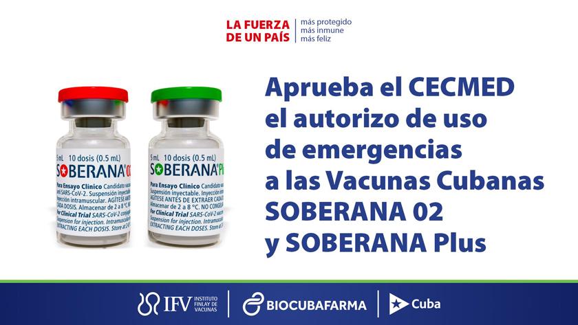 Autorizan en Cuba uso de emergencia de vacunas anti-COVID-19 Soberana 02 y Soberana Plus