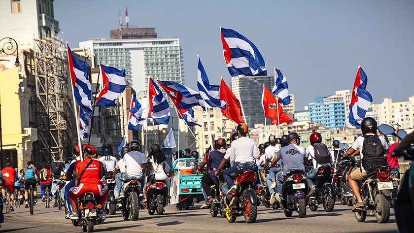 Caravana Mundial Contra el Bloqueo en La Habana Cuba.